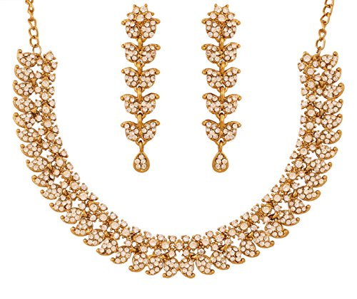 Touchstone Hollywood Glamour weißen Kristallen Paisley-Motiv Grand Schmuck Halskette Antik für Damen Gold