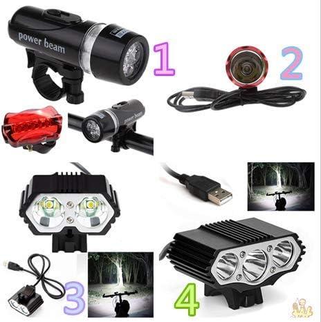 Timogee Juego de Luces de Bicicleta L/ámpara LED Impermeable Luz Delantera de Bicicleta Luz Trasera Juego de Linterna de Seguridad