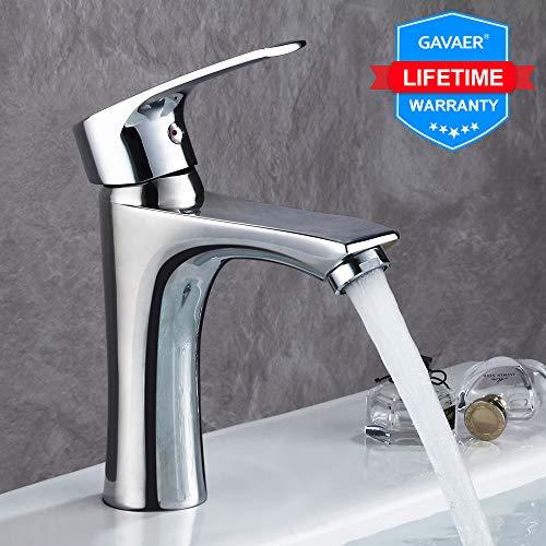GAVAER Wasserhahn Bad,Hochwertiger moderner Stil Waschtischarmatur, Kaltes und Heißes Wasser Vorhanden, Premium-Qualität Keramikventil, Massivem Messing, Verchromung Prozess.