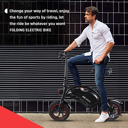 ANCHEER Folding Electric Bicycle E-Bike Scooter 350W Powerful Motor Waterproof Ebike with 15 Mile Range, Dual Disc Brakes