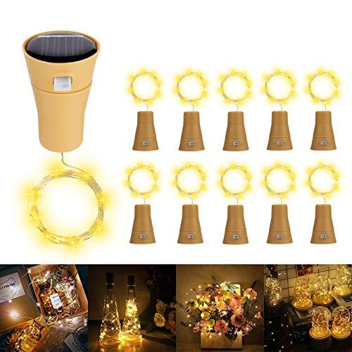Solare Luci Stringa per Bottiglia di Vino, ALED LIGHT 10 Pack Bianco Caldo Luci Solari Lights LED Lampade Filo di Rame Catena Luminosa Luce Decorazione Interni Esterni per Festa Matrimonio DIY Regalo