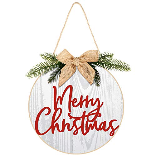 Jetec Merry Christmas Decorations Wreath Christmas Hanging Sign Rustic Burlap Wooden Holiday Decor for Christmas Home Window Wall Farmhouse Indoor Outdoor Decorations (White)