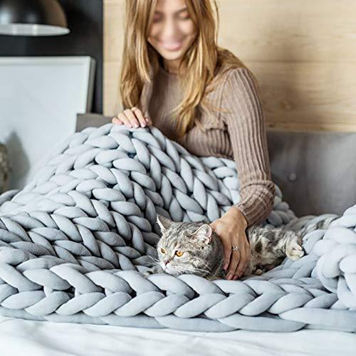 Manta Tejida Hecha a Mano para Regalo, Hermosas Mantas de Punto Grueso, sofá Cama de Dormitorio para sofá Cama, Manta de Punto Grueso