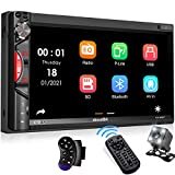 aboutBit Bluetooth Car Stereo Receiver, 7 Inch HD Touchscreen Double Din Car Audio MP5 Multimedia Player with Mirror Link, Rearview Camera, AM/FM Radio, USB/SD/AUX, Fast Charging