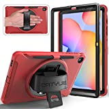 BATYUE Case for Samsung Galaxy Tab S6 Lite 10.4 2020 (SM-P610/SM-P615) with Screen Protector/Pencil Holder, [Full-Body] 3 Layer Hybrid Drop Protection Case w/ 360° Rotating Stand/Hand Strap (Red)