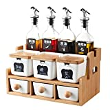 Daily Accessories Spice Holder Storage Box Ten Sets of Double Kitchen Tools Creative Ceramic and Wood Combination Multi Functional Combination Seasoning Rack