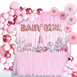 Baby Shower Decorations for Girl:10in Baby Girl Balloons,129pcs Pink Party Decorations are Perfect for Your Baby Shower