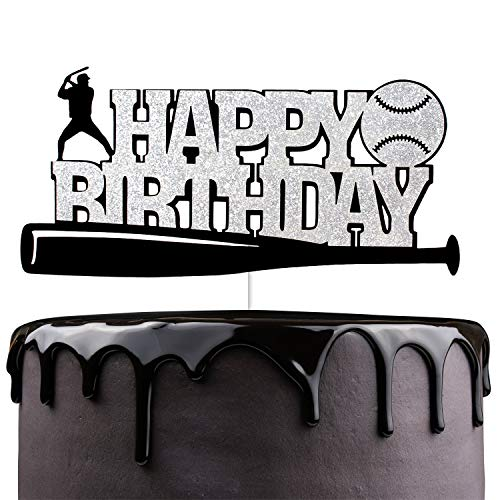 Happy Birthday Silver Glitter Baseball Cake Topper Sport Themed Party Decorations Supplies for Boys Man
