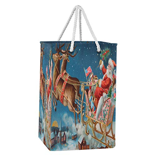 HMZXZ 75L Merry Christmas Santa Claus Reindeer Laundry Hamper Collapsible Large Clothes Nylon Fabric Laundry Basket Bag with Extended Cotton Handles for Clothes Toys