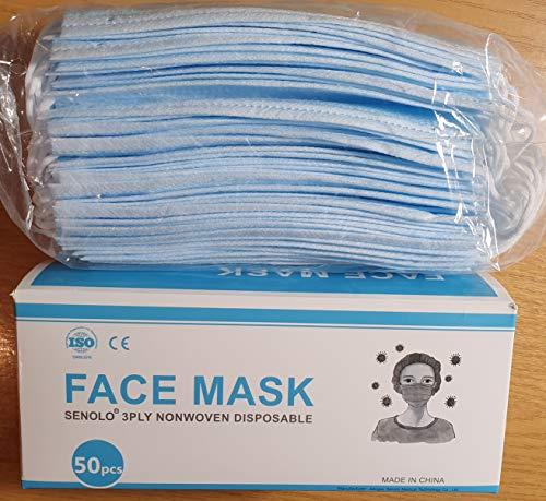 100 Stück NEUDORF Mundmaske Mund Nase Abdeckung Maske B&E\'s versendet aus Deutschland mit DHL/Vlies-Filter 3-lagig/Prävention gegen Spritz-&Tröpfchenkontakt im Mund-&Nasenbereich