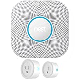 Nest S3000BWES Protect 2nd Generation Smoke/Carbon Monoxide Alarm Battery Bundle with Deco Gear 2 Pack WiFi...