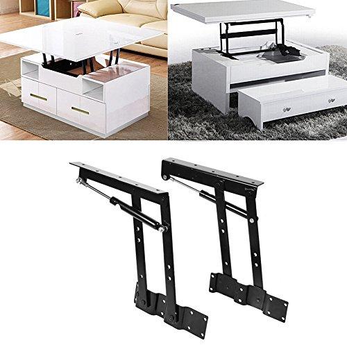 Solong 1 Paar Tisch-Mechanismus aus Stahl, robust, zusammenklappbar, schwarz, Mechanismus für Tablett aufklappbar, Feder, Scharnier, Lift Up für Couchtisch