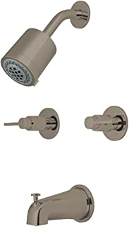 Kingston Brass KBX8148NDL 5-Inch length in Tub Spout NuvoFusion Two Handle Tub and Shower Faucet, Brushed Nickel