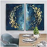 Moderno abstracto estilo nórdico pared arte lienzo pintura pez dorado azul pintura para sala de estar decoración del hogar 70x90cm (27.6'x35.4') x2 sin marco