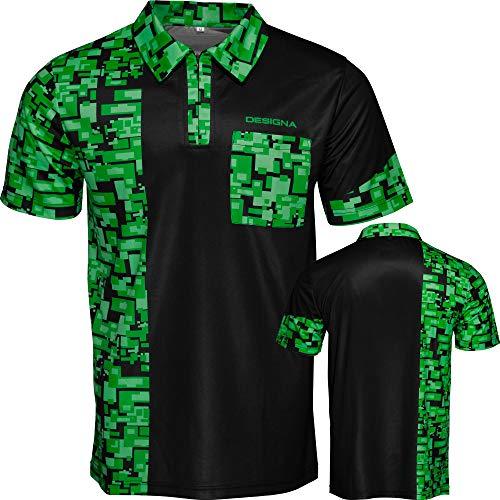 DESIGNA Code 4 Dart-Shirt mit Reißverschluss vorne, atmungsaktiv, Größe S - 5XL, schwarz/grün, L