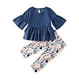 2Pcs Kids Toddler Baby Girl Long Sleeve T-Shirt Tops+Floral Pants Outfit Set Fall Clothes (Denim+Floral, 5-6T)