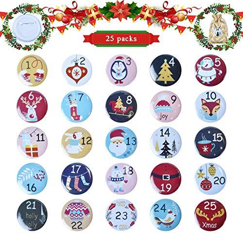 EKKONG Adventskalender Zahlen Buttons Nummer 1-25 mit Pins, für DIY Weihnachtskalender, Jutesäcke und Geschenkdekorationen (A)