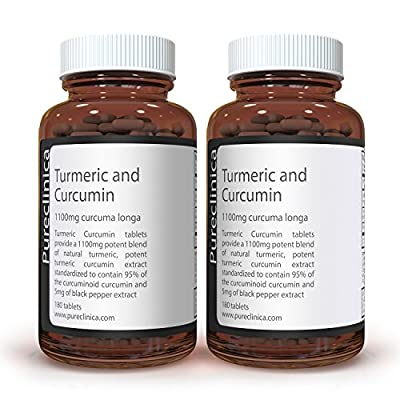 1100mg Turmeric and Curcumin - 360 tablets (2 bottles) x 1100mg - 95% Curcumin - 1000mg Turmeric root extract containing naturally occurring curcuminoinds, and 95% curcumin - With 5mg black pepper extract for 300% increased absorption. SKU: TUCRx2 from Pu