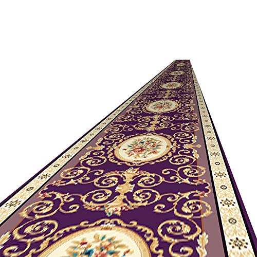 Rug European Style Purple Rugs, 4' × 8', Traditional Floral Area Carpet Door Mat for Living Room Decor, Hallway Carpets Runner Easy Clean and Non-slip (Size : 80×800cm)
