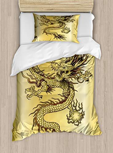 ABAKUHAUS Drachen Bettbezug Set Einzelbett, Chinesischer Ost-Mythos, Kuscheligform Top Qualität 2 Teiligen Bettbezug mit 1 Kissenbezüge, Senf Schwarz