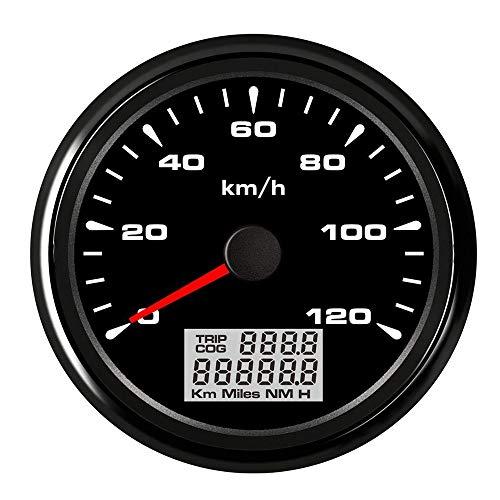 WANGXINQUAN Velocímetro 85mm Digital Impermeable GPS Velocímetro Medidor 120 kmh 200 kmh odómetro de camión de Auto Marina (Color : Black 120kmh, Size : Gratis)