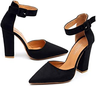 chegong Women's Classic Closed Pointed Toe Ankle Strap Pumps Chunky High Heel Sandals