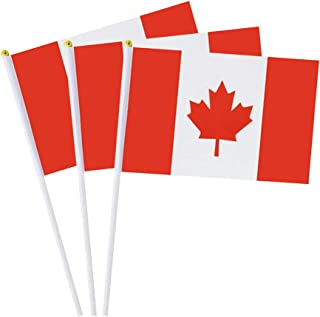 Canada Flag Canadian Small Stick Mini Hand Held Flags Decorations 1 Dozen (12 pack)
