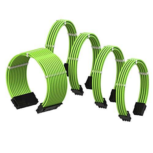 LINKUP - Cable con Manguito - Prolongación de Cable para Fuente de Alimentación con Kit de Alineadores┃1x 24P (20+4) MB┃2X 8P (4+4) CPU┃2X 8P (6+2) GPU┃30CM 300MM - Verde
