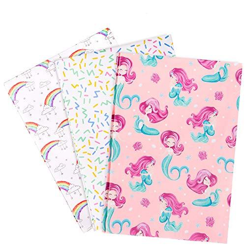 Whaline 15 Blatt Geschenkpapier, Meerjungfrau-Geschenkpapier, Regenbogen-Paketpapier, Happy Birthday und farbige Linien, Geschenkpapier f¨¹r Kinder, Party und Babyparty (3 Muster)