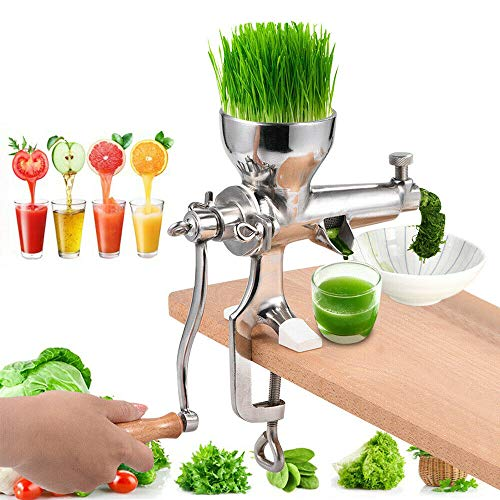 Wheatgrass Juicer Machines,Manual Hand Press Slow Juicer,Celery Wheat Grass Vegetable Fruit Juicer for Juicing Wheatgrass Gingers Apples Grapes,Stainless Steel,Silver