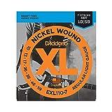 D'Addario EXL110-7 Cordes en nickel pour guitare électrique 7 cordes Regular Light 10-59