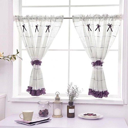 Rideau romain Tulle Rideau de café Cuisine Court rideau Semi-ombre Petit rideau pour Décoration d'intérieur Poche à tige , Purple , 1pc(90x45 cm)