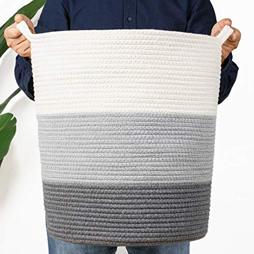 Laundry Woven Storage Rope Basket - Large Decorative Baby Toy bin Holder with Handle for Living Room,Big Blanket Wicker Hamper Cotton Organizer,Fabric Round Nursery Towel Baskets with Small Handles