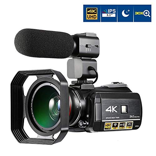 Best Deals! Stcamvideo 4K Video Camera Camcorder 1080P IR Night Vision Recorder, 30X Digital Zoom Wi...