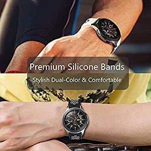 HOMTERN 22mm Width Bands for Samsung Galaxy Watch 3 45mm Galaxy Watch 46mm Garmin Vivoactive 4,Silicone Flexible Smartwatch Sport Bands for Huawei Amazfit Fossil Women Man (Black&Black)