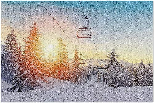 ACCYT HD Golden Orange Sunset in a Winter Landscape in The Mountains The Julian Alps 9010926 (52*38 cm Premium 500 Piece Jigsaw Puzzle Made in USA!)