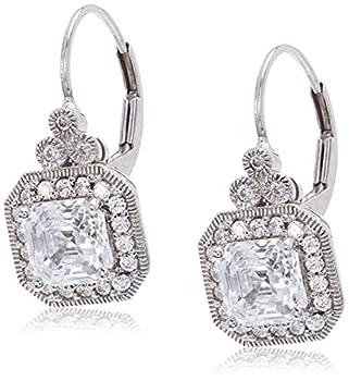 Platinum Plated Sterling Silver Antique Drop Earrings set with Asscher Cut Swarovski Zirconia