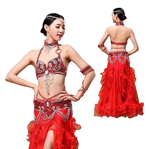 Baile de mujer vestido Danza del vientre Ropa de rendimiento Conjunto de sujetador con cuentas hecho a mano Traje Ropa de rendimiento 4 colores Para representaciones teatrales de saln de baile