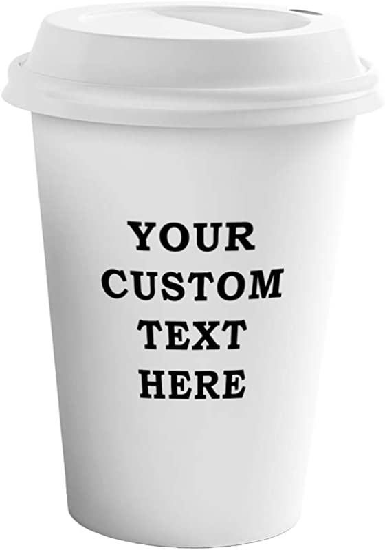 Custom Your Text Here Personalized Lettering Ceramic Coffee Tumbler Travel Mug