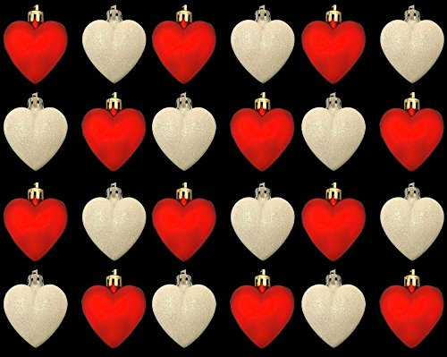 24 boules de cœur Tapis de paillettes Rouge et blanc Couleur Arbre Décoration Maison Fête Cadeau Ornement mural fenêtre Festive enfants à suspendre Mariage Jardin 5 cm