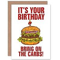 Birthday Burger Funny Health Sealed Greeting Card Plus Envelope Blank inside おかしい健康