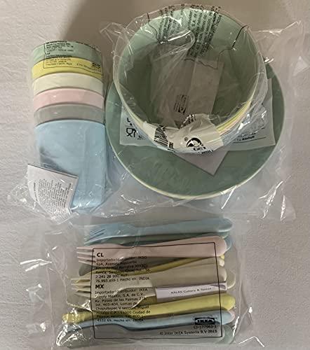Ikea Juego de cubiertos Kalas Pastel Colors para niños, plástico, sin BPA, cuenco, plato, vaso
