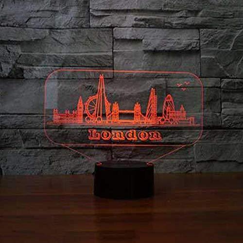 Edificio Del Puente De Londres 16 Colores Lámpara De Mesa, Luz De Noche Optica Nocturna Luz Ilusión Lámpara Decoración Adultos Cumpleaños Regalo Creativo Usb Iluminación Led Habitación Bebé Cuarto Ópt