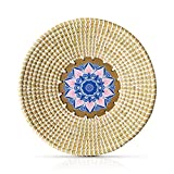 Rattan Woven Fruit Basket Bowl - Natural Woven Vegetable Basket Bowl - Wall Basket Decor - Handmade Seagrass Decorative Bowl - Subtle Gifts for Friends, Housewarming, Mother's day (35cm/13.7in)