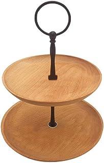 Style de Fruit Basket rétro en bois Fruit rack gâteau rack cadre amovible en acier double stockage Snack Platter multi-tai...