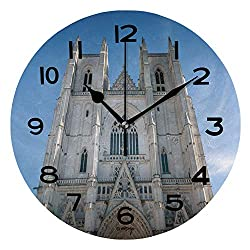 ALUONI Print Round Wall Clock, 10 Inch Architectural Detail of Saint Pierre Cathedral in Nantes Quiet Desk Clock for Home,Office,School IS072102