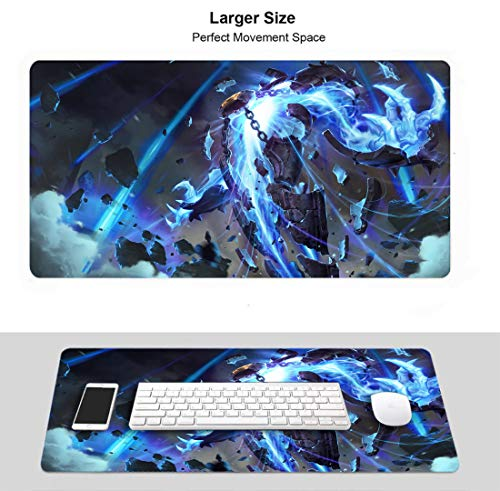 Large Gaming Mouse Pad for League Legends, Stitched Edges Anti Slip Rubber Base (Champion Xerath)