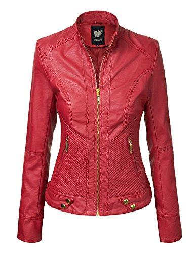 LL WJC747A Womens Dressy Vegan Leather Biker Jacket XXL RED