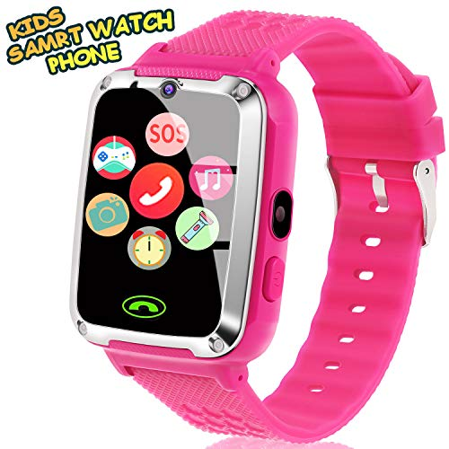 Smart Watch for Kids - Kids Smart Watch Phone for Boys Girls with Phone Call Camera Games Music Alarm Clock Calendar Kids Smartwatch Electronic Wrist Watch for Birthday Gift (Pink)