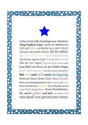 Geschenk für Baby oder Neugeborene - Bild für Jungen in DIN A4: Personalisierte Geschenkidee als Gastgeschenk für Geburtstag - Gastgeschenk Geburt, Kunstdruck